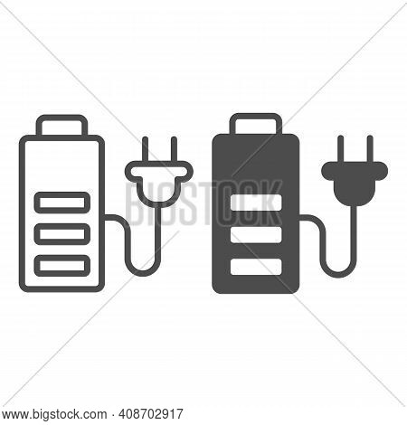 Battery And Cord With Plug Line And Solid Icon, Electric Car Concept, Charge Symbol On White Backgro