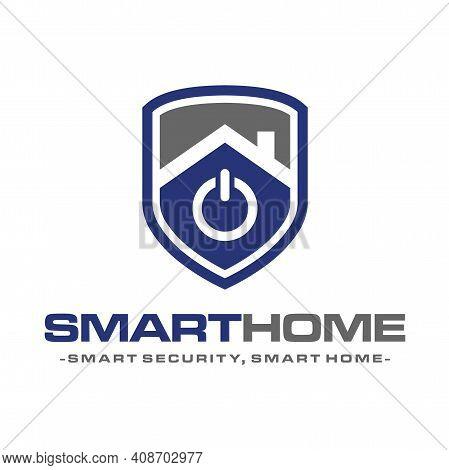 Smart Home Security, Smart Home Tech Logo Design Vector