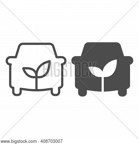 Car And Sprout Line And Solid Icon, Electric Car Concept, Ecological Car Sign On White Background, A