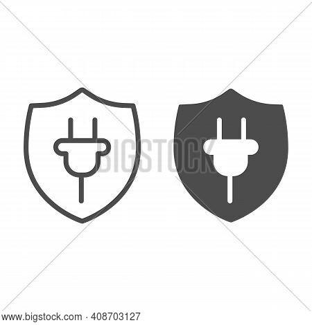 Protection Emblem And Plug Line And Solid Icon, Electric Car Concept, Protect Alternative Electrical