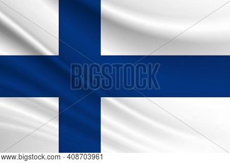 Flag Of Finland. Fabric Texture Of The Flag Of Finland.
