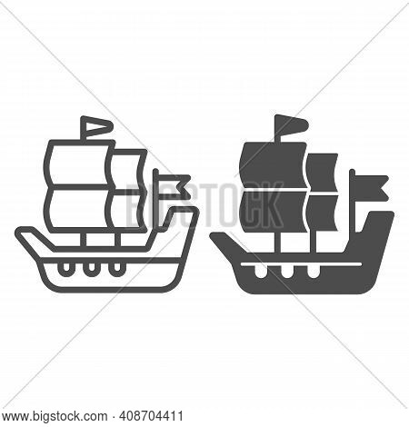 Ship Of Conquistadors Line And Solid Icon, Thanksgiving Day Concept, Sailing Ship Sign On White Back