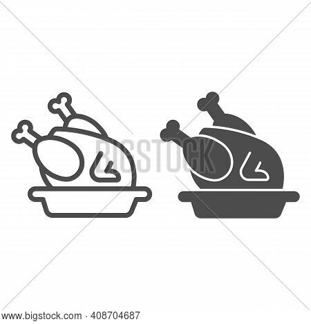 Roasted Turkey In Plate Line And Solid Icon, Thanksgiving Day Concept, Roasted Chicken Sign On White