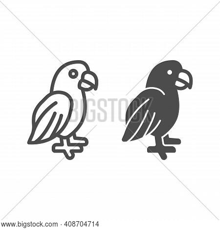 Parrot Line And Solid Icon, Domestic Animals Concept, Macaw Bird Sign On White Background, Tropical