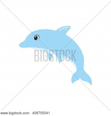 Cute Dolphin On A White Background Isolated. Bright Children\'s Cartoon Illustration. Inhabitants Of