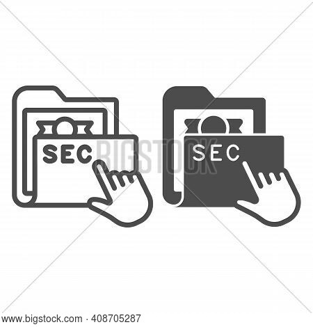 Secret Folder With Pointer Line And Solid Icon, Web Security Concept, Locked Folder With Documents S