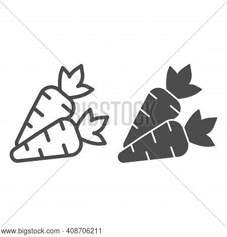 Carrots Line And Solid Icon, Thanksgiving Day Concept, Carrot Vegetable Silhouette Sign On White Bac