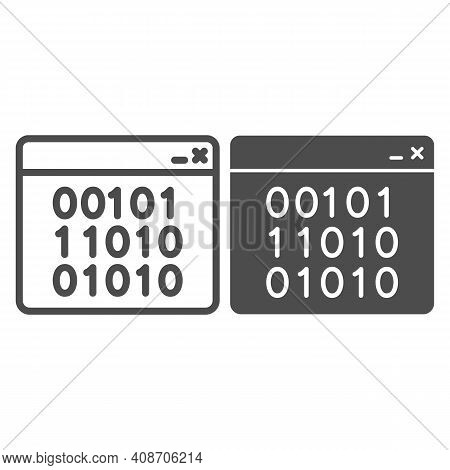 Binary Code On Web Page Line And Solid Icon, Web Security Concept, Binary Code On Screen Sign On Whi
