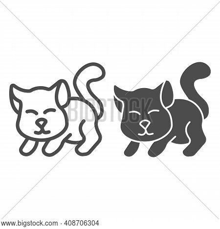 Cute Kitten Line And Solid Icon, Domestic Animals Concept, Cat Silhouette Sign On White Background,