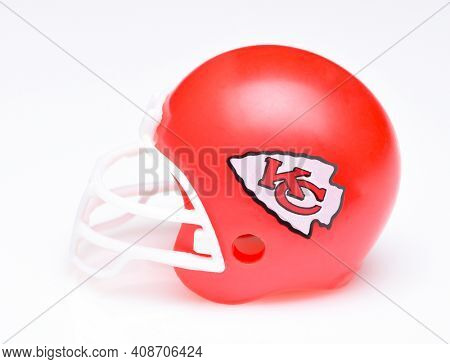 IRVINE, CALIFORNIA - AUGUST 30, 2018: Mini Collectable Football Helmet for the Kansas City Chiefs of the American Football Conference West.