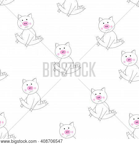 Outline Vector Animals Seamless Pattern. The Piglet Does Exercises, Goes In For Sports. Cute Pig On