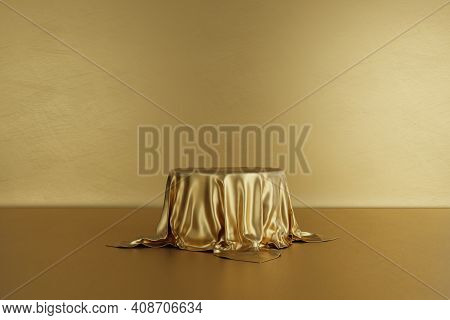 Golden Product Stage Podium With Luxury Fabric On Gold Background. Minimal Fashion. Geometry Concept