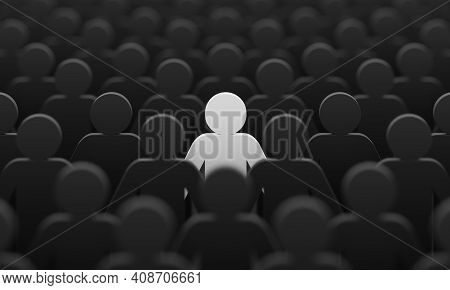 White Color Figurine Among Crowd Black People Background. Social Lifestyle And Business Competition