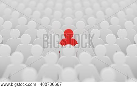 Red Man Color Figurine Among Crowd White Men People Background. Social Lifestyle And Business Compet