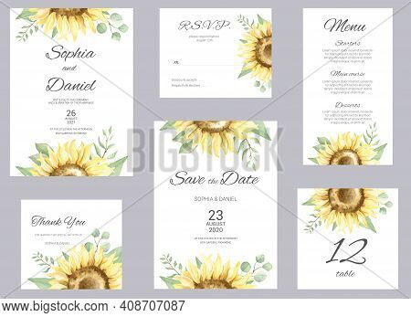 Watercolor Wedding Invitation Cards. Floral Poster, Invite. Elegant Wedding Invitation With Watercol