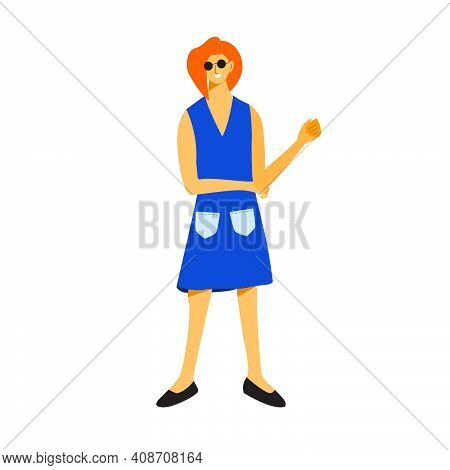 Fashionable Woman Wearing Blue Dress With Enjoyable Poses. Flat Vector Design Character Illustration