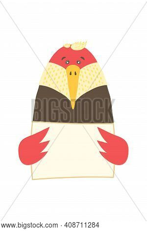 Cute Cartoon Animal Holding Tag Sign With Copy Space. Set Greeting Card Banner Invitation Flyer Broc