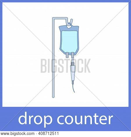 Blue Drop Counter. English Vocabulary Word Card.