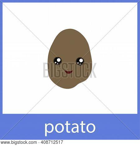 Potato Cute Vegetable. English Vocabulary Word Card.