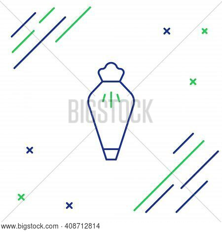 Line Pastry Bag For Decorate Cakes With Cream Icon Isolated On White Background. Kitchenware And Ute