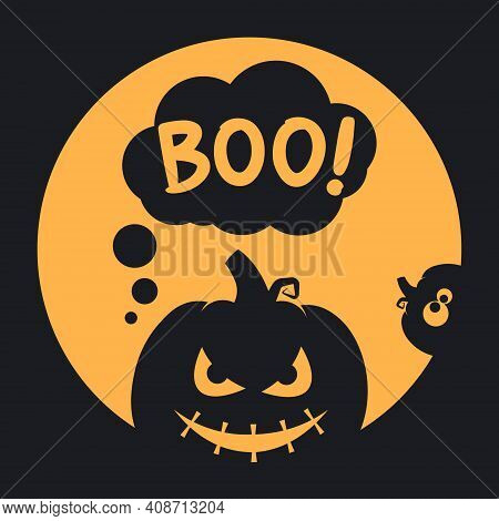 Boo Halloween Design With Scary And Funny Pumpkins On A Full Moon Background. Simple Vector Illustra