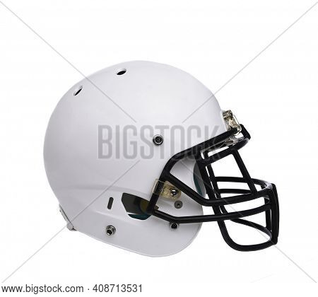 Football Helmet: A white football helmet isolated on white without any markings or logos.