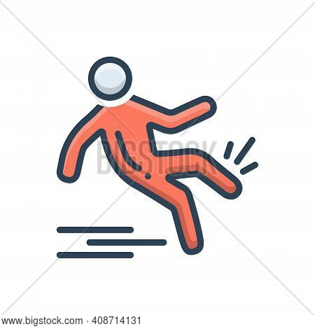 Color Illustration Icon For Slip-and-fall Slip Fall Slippery Injury