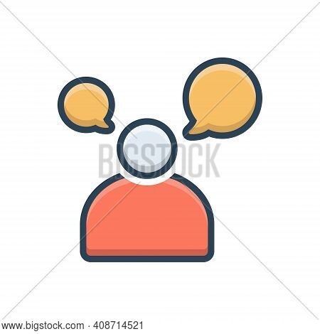 Color Illustration Icon For Man Talking Speaking  Communication