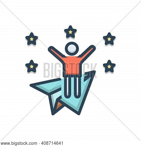 Color Illustration Icon For Ambitious Joyful Wishful Appetent Happy