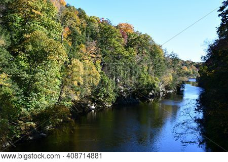View Of Housatonic River From Lovers Leap State Park In New Milford, Connecticut