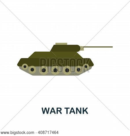 War Tank Flat Icon. Color Simple Element From Weapon Collection. Creative War Tank Icon For Web Desi