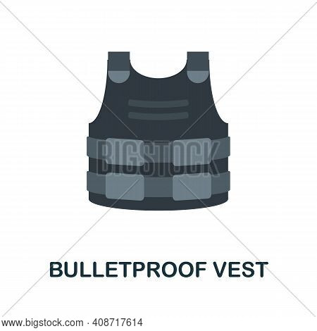 Bulletproof Vest Flat Icon. Color Simple Element From Weapon Collection. Creative Bulletproof Vest I