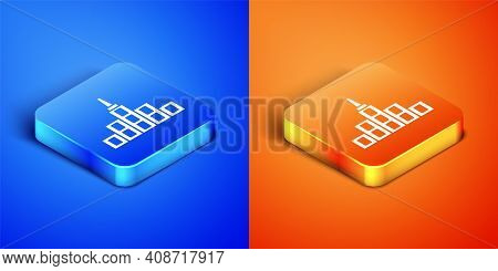Isometric City Landscape Icon Isolated On Blue And Orange Background. Metropolis Architecture Panora