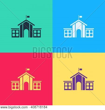 Pop Art United States Capitol Congress Icon Isolated On Color Background. Washington Dc, Usa. Vector