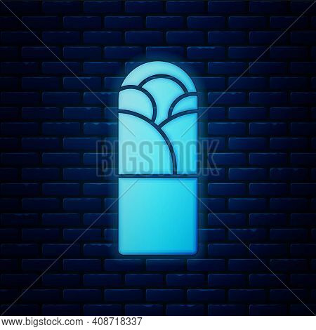 Glowing Neon Doner Kebab Icon Isolated On Brick Wall Background. Shawarma Sign. Street Fast Food Men
