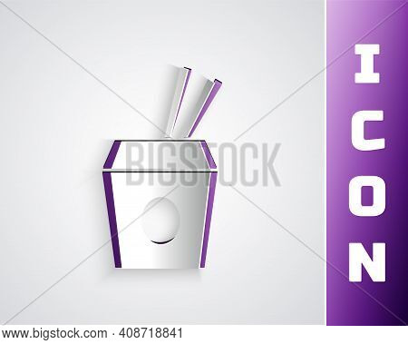 Paper Cut Asian Noodles In Paper Box And Chopsticks Icon Isolated On Grey Background. Street Fast Fo