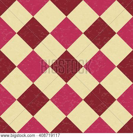 Circus Carnival Retro Vintage Dominoes Seamless Pattern. Argyle Diamond Shaped Rhombuses. Textured O