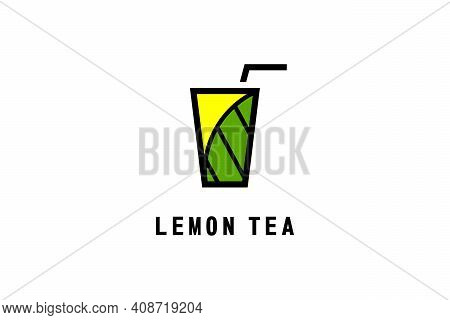 Lemon Tea Drink Logo, With Glass And Straw Icon Design Concept, Simple And Modern Logo Template.