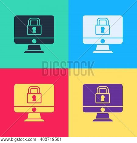 Pop Art Lock On Computer Monitor Screen Icon Isolated On Color Background. Security, Safety, Protect