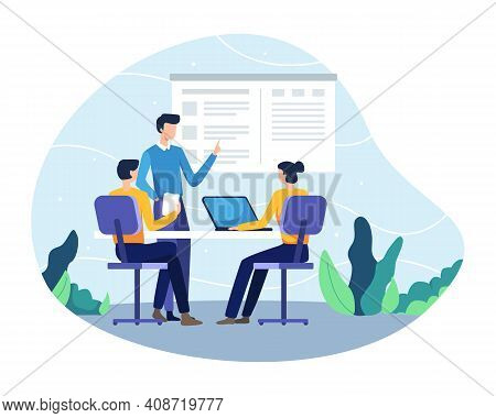 Vector Illustration Of Planning A Business