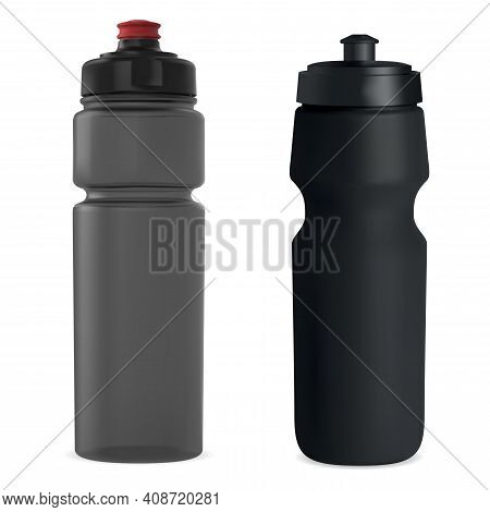 Sport Water Bottle. Plastic Drink Bottle Vector Blank. Reusable Fitness Bottle Template Mock Up. Bic