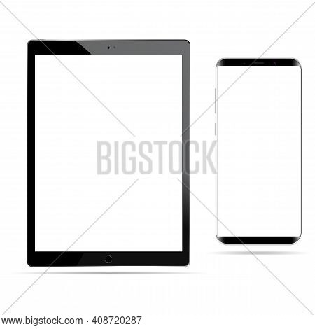 Tablet Vector Mockup Black White Screen Isolated. Smartphone Mockup, Digital Cell Phone Template On