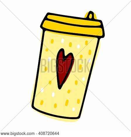 Doodle Coffee To Go Cup. Cute Hot Beverage Isolated On White Background. Yellow Tea, Latte, Cappucci