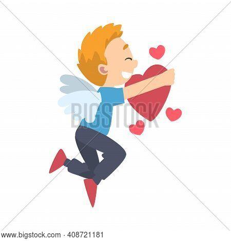 Cute Cupid Boy, Adorable Joyful Kid Angel Cherub Shooting Flying With Heart Cartoon Style Vector Ill