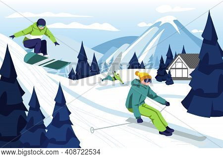 People Skiing And Snowboarding In Ski Resort. Skier And Snowboarder Riding Down Snowy Hill. Sports P