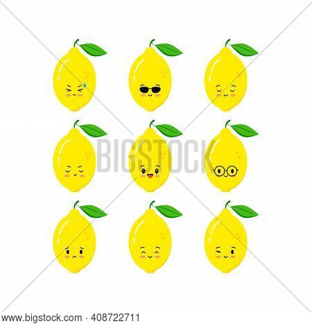 Cute Lemon Funny Cartoon Character Icon Set Isolated On White Background. Summer Smile Sad Wink Citr