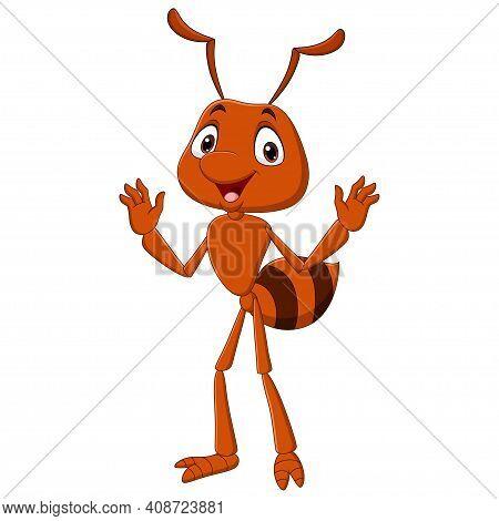 Vector Illustration Of Cartoon Happy Ant Waving Hand