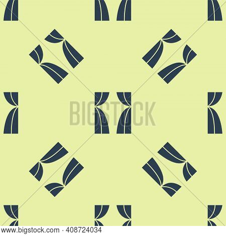 Blue Circus Curtain Raises Icon Isolated Seamless Pattern On Yellow Background. For Theater Or Opera