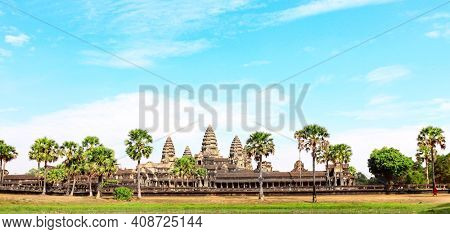 Famous khmer ancient temple complex Angkor Wat (Angkor Thom), Siem reap, Cambodia, Indochina. UNESCO world heritage Site