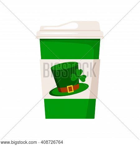 St Patrick Day Coffee Or Tea Cup To Go. Hot Drink Mug With Good Luck Irish Green Leprechaun Hat With